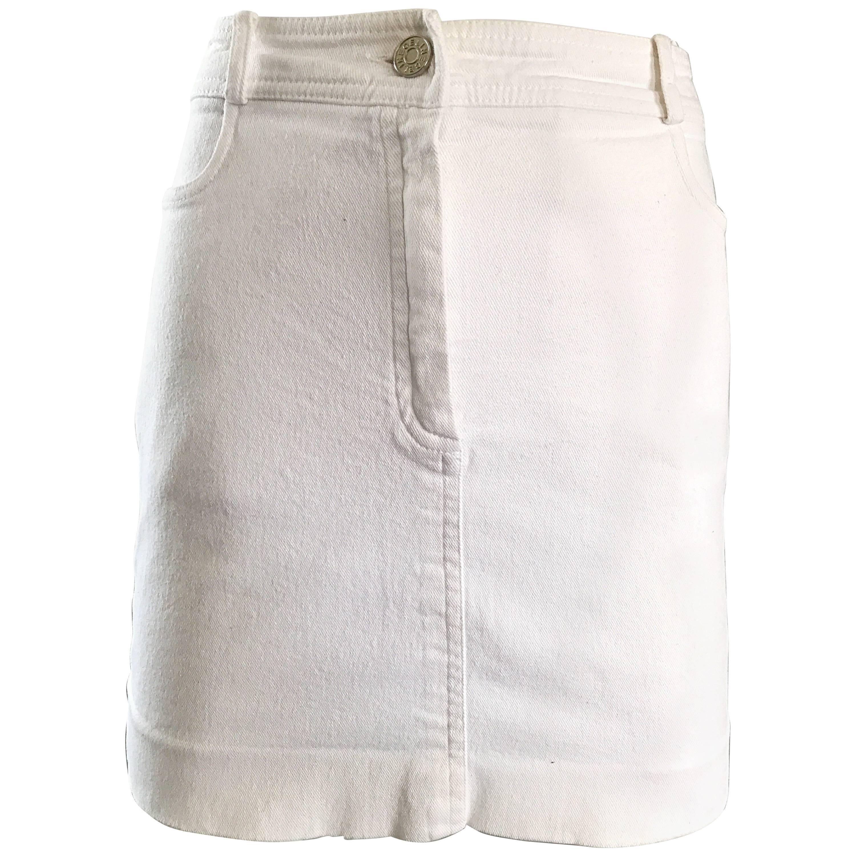 1990s Celine White Denim Blue Jean Vintage 90s Mini Skirt Size 40