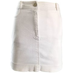 1990s Celine White Denim Blue Jean Vintage 90s Mini Skirt Size 40