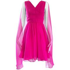 Amazing 1960s Hot Pink Chiffon Sleeveless Vintage 60s Dress w/ Attached Cape