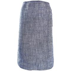 Luciano Barbera 1990s Navy Blue + White Silk + Linen High Waist Pencil Skirt 90s