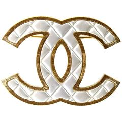 Chanel Silver/Gold Quilted CC Brooch Pin