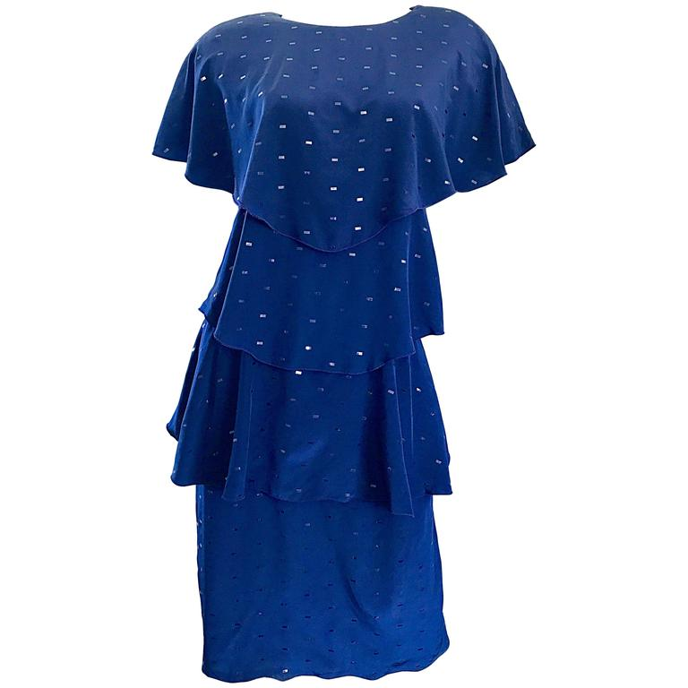 Vintage Holly's Harp Size Large Navy Blue Sequin Flapper Inispired Silk Dress