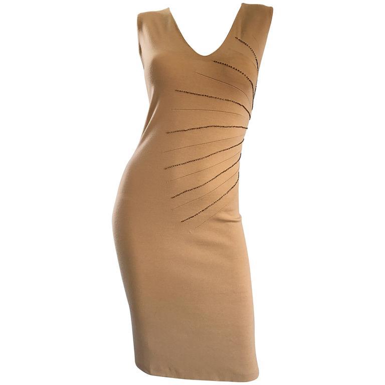 Alessandro Dell'Acqua 1990s Tan Carmael Wool Vintage 90s Beaded Sleeveless Dress