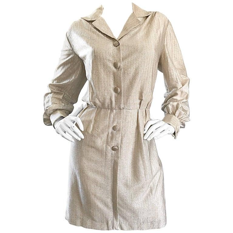 Chic 1970s White Gold + Silver Metallic Lurex Vintage 70s Shirt Dress  For Sale