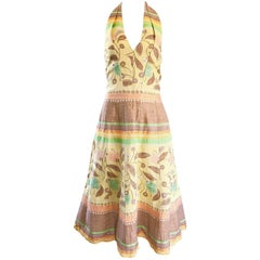 Luca Luca Size 44 US 12 / 14 Embroidered Cotton + Linen Pastel Halter Dress