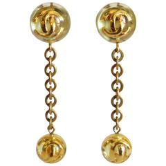 1980s Chanel Lucite CC Ball Drop Earrings