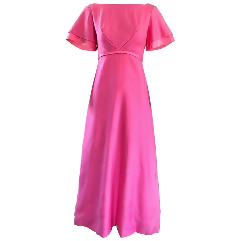 1970s Emma Domb Bubblegum Pink Short Sleeve Vintage 70s Empire Waist Maxi Dress 1