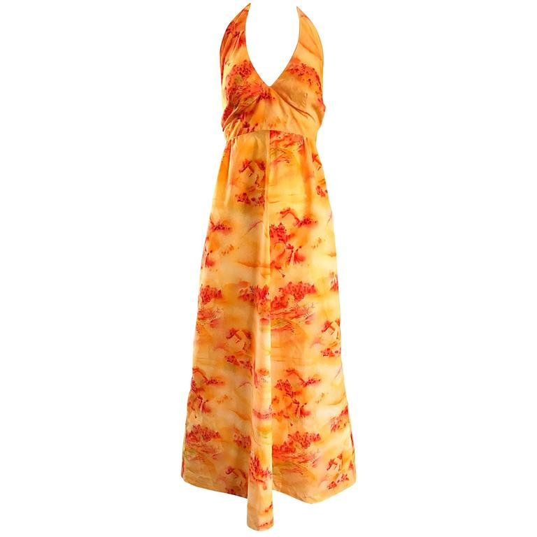 Incredible 1970s Asian Themed Bright Orange Vintage 70s Novelty Maxi Dress  For Sale