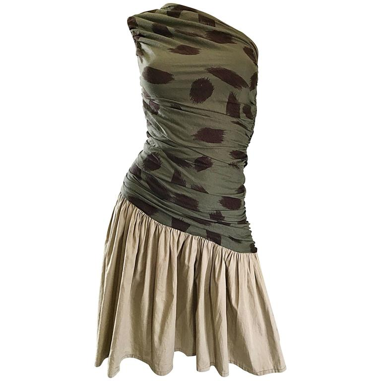 90s Asymmetrical Abstract Leopard One Shoulder Army Green + Khaki  Vintage Dress For Sale