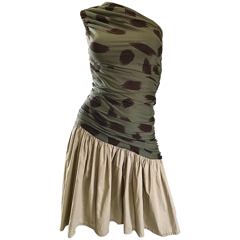 90s Asymmetrical Abstract Leopard One Shoulder Army Green + Khaki  Vintage Dress