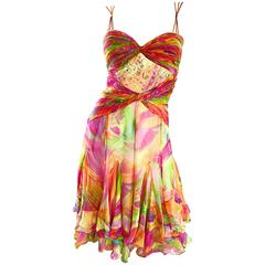 1990s Diane Freis Sz 10 Bright Sequin Beaded Silk Chiffon Handkerchief Hem Dress