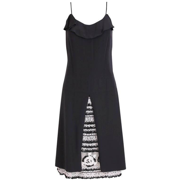 2001 Chanel Black Silk Cocktail Dress w/Lesage Beading, Lace & Appliques