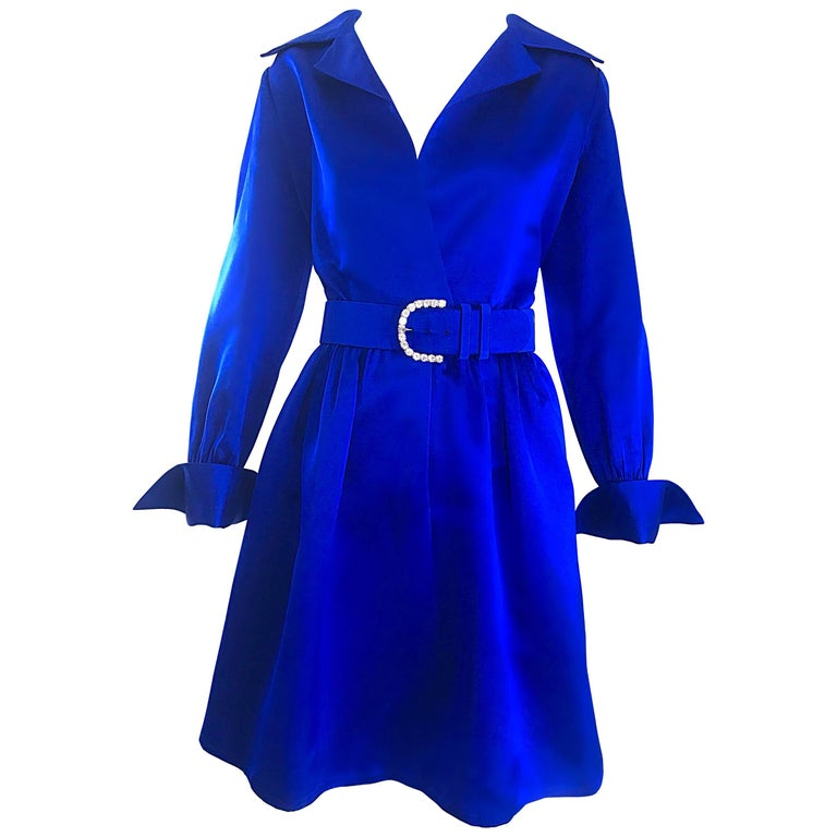Gorgeous Bill Blass Couture Vintage 1970s Royal Blue Silk Satin Belted 70s Dress For Sale