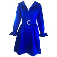 Gorgeous Bill Blass Couture Vintage 1970s Royal Blue Silk Satin Belted 70s Dress