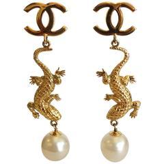 Massive 1980s Chanel Lizard Pearl Earrings