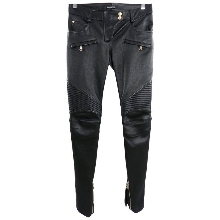 Balmain Black Leather Biker Motorcycle Skinny Jeans / Pants For Sale