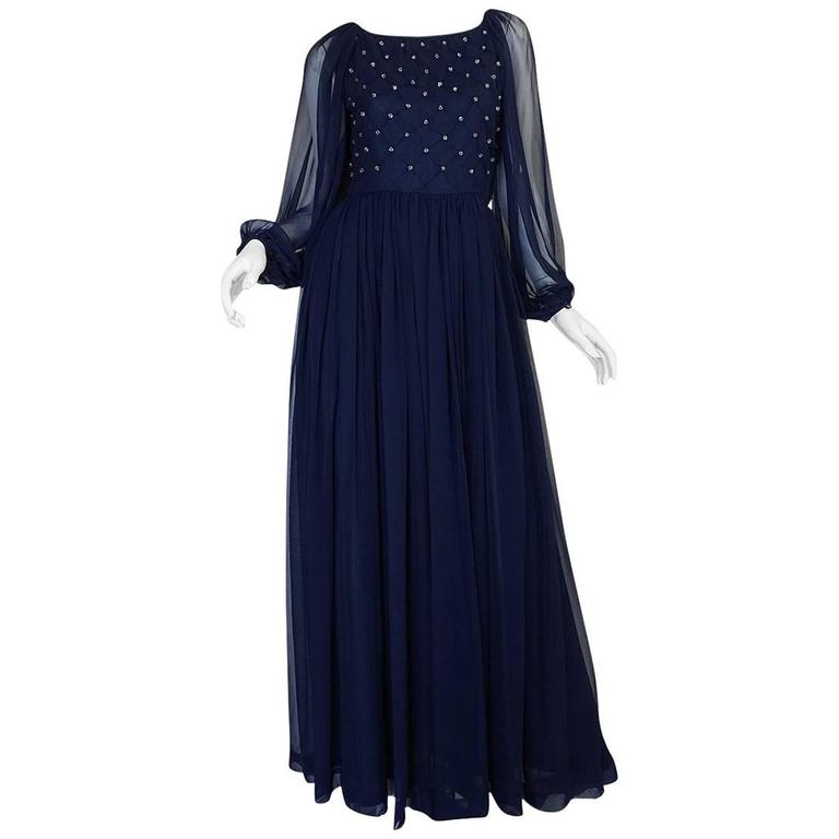 1970s Roberto Capucci Deep Blue Chiffon & Bead Dress 1
