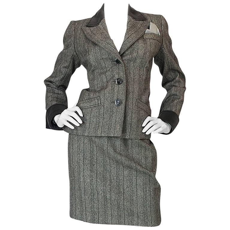 1980s Yves Saint Laurent Haute Couture Herringbone Suit For Sale