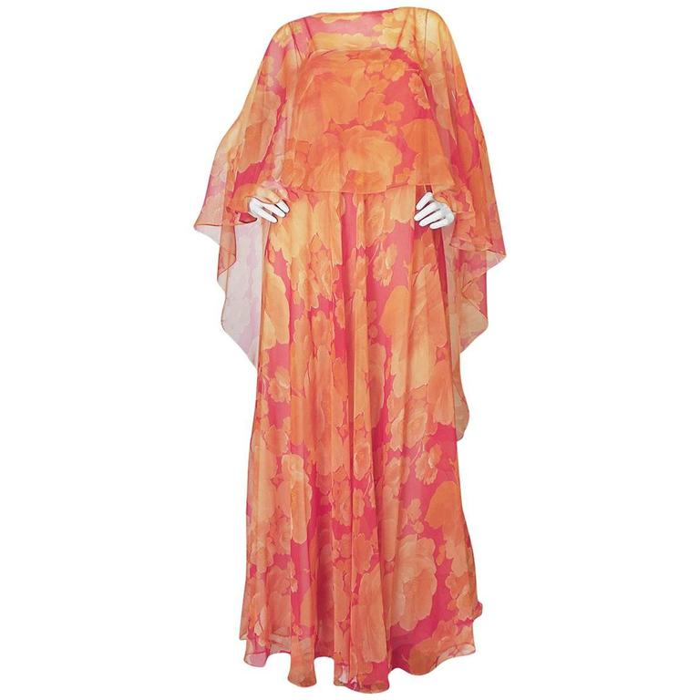 1960s Unlabelled Floral Chiffon Dress with Cape Overlay 1