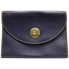 Celine Navy with Yellow Stitched Calfskin Leather Flap Clutch
