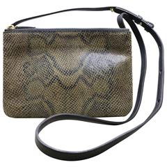 Celine Mini Trio Embossed Python and Black Leather Pouches with Strap