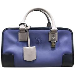 Loewe Color Blocked Amazona 28 Tote Bag in Blue/Black/Grey Calf Leather