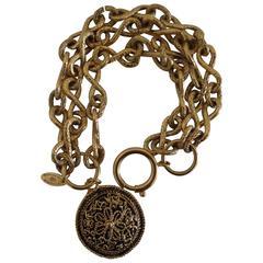 Chanel Gold tone with round Pendant Bracelet