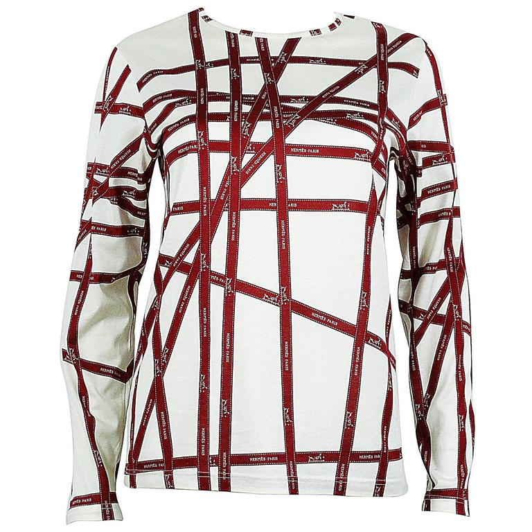Hermès Off-White & Burgundy Bolduc Ribbon Print T-shirt