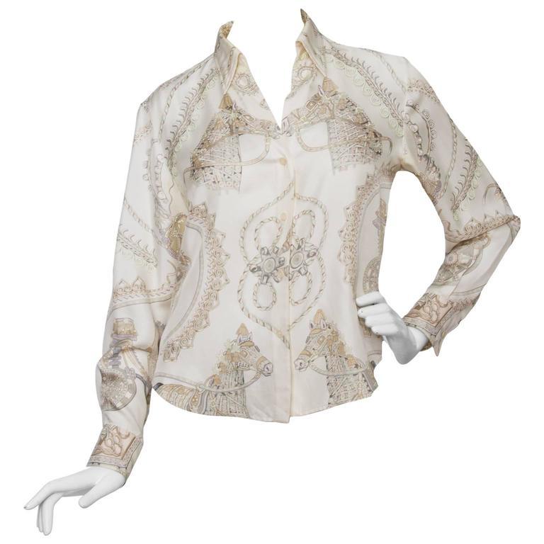 A 1970s Hermès Printed Silk Shirt For Sale