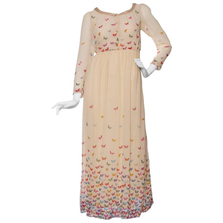 A Stunning  Hanae Mori Butterfly Silk Dress  For Sale