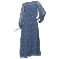 A 1970s Hanae Mori Blue Silk Dress w. Butterfly Print