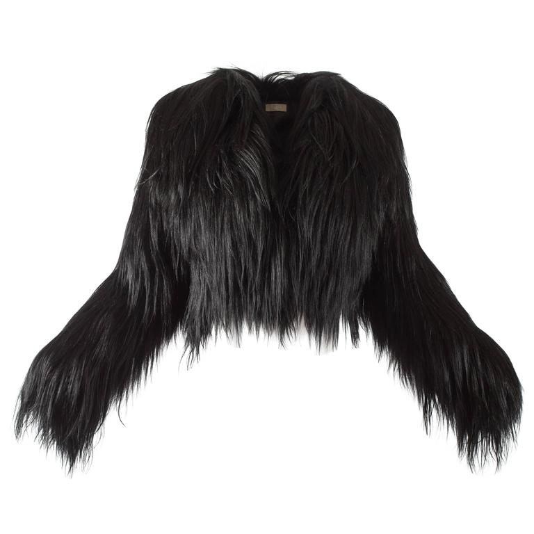 Alaia black goat hair jacket
