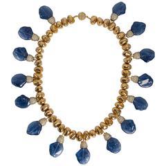 Chic Faux Gold Nugget Baroque Sapphire Diamond Collar Necklace