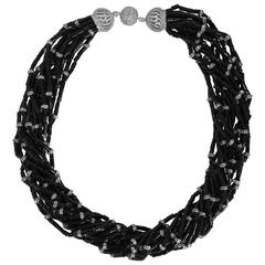 Vintage Bergdorf Goodman Chic Black Onyx Crystal Rondel Twist Collar Necklace