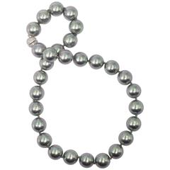 Magnificent French Faux 20 MM Size Tahitian Gray Pearl Opera Length Necklace