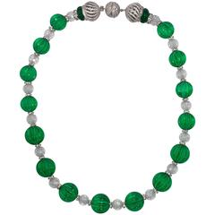 Superb Faux Carved 20mm Emerald Bead and Faux Diamond Briolette  Bead Necklace