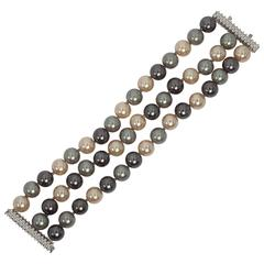 Fabulous Wide Three Strand Faux Tahitian Pearl Diamond Cuff Bracelet