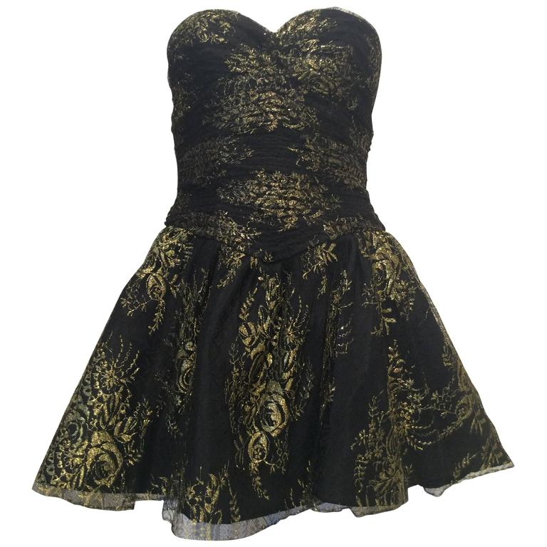 Vicky Tiel Couture Black Lace Strapless Mini Dress with Gold Floral Pattern 1