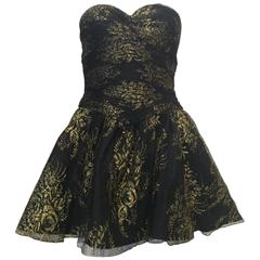 Vicky Tiel Couture Black Lace Strapless Mini Dress with Gold Floral Pattern