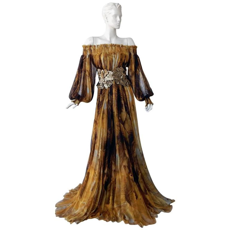 Alexander McQueen Off Shoulder Gilded Goddess Gown
