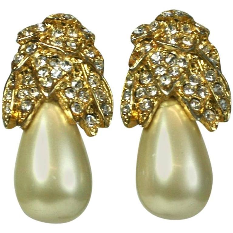 Kenneth Jay Lane Pearl Pear Ear Clips For