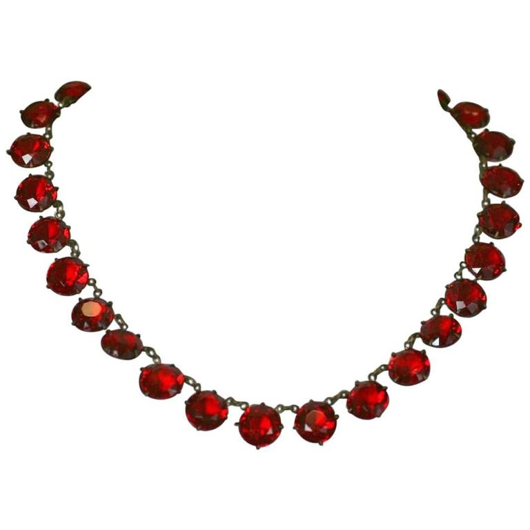 Art Deco Ruby Crystal Riviere For Sale