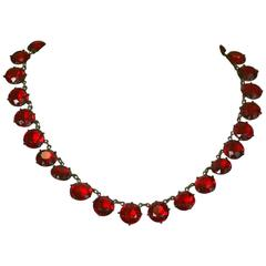 Art Deco Ruby Crystal Riviere