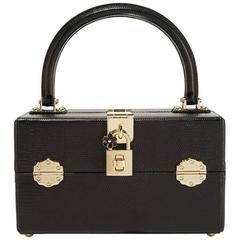 Dolce & Gabbana NEW Black Leather Jewelry Vanity Top Handle Satchel Bag