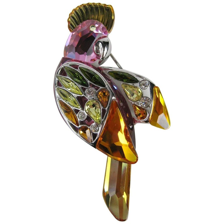 Large Sterling Silver Swarovski Crystal Parrot Brooch New Never Worn  For Sale