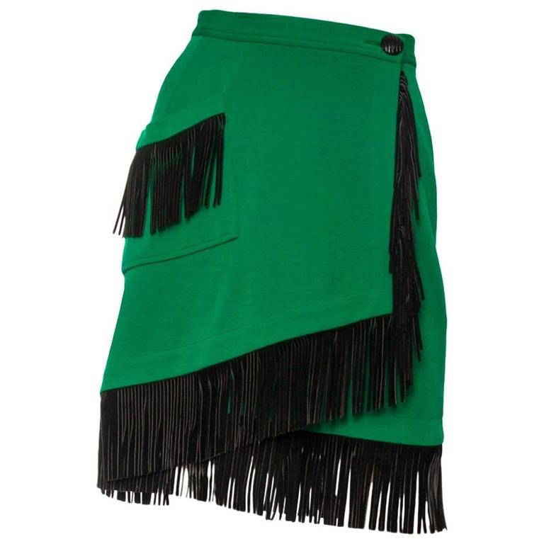 An 80s Yves Saint Laurent Bright Green Fringed Wrap Skirt 1