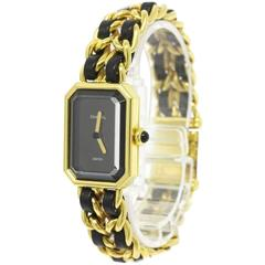 Chanel Vintage Black Gold Leather Chain Link Evening Cuff Bracelet Dress Watch