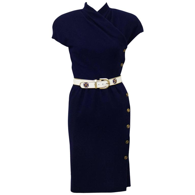 1980's Carolyne Roehm Navy Blue Wool Dress with Belt
