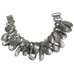 Rare 1960s Napier Silvertone Shell Charm Bracelet