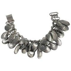 Napier Silvertone Shell Charm Bracelet 1950s
